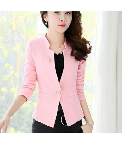 Women's Jacket Female Leisure Suit Blazer Tops Blazers Coats 2019 Office Lady Kawaii Slim Fashion Clothing Pocket Brooch 426...