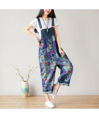 Women Denim bib trousers hanging crotch Jumpsuit Baggy large size Printed jean overalls Suspenders harem Rompers hip hop pan...