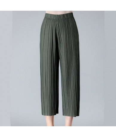 Women Summer Wide leg Pants Casual Solid Chiffon Thin High wiast Calf-length Loose Pleated pants plus size XL-4XL - Army gre...