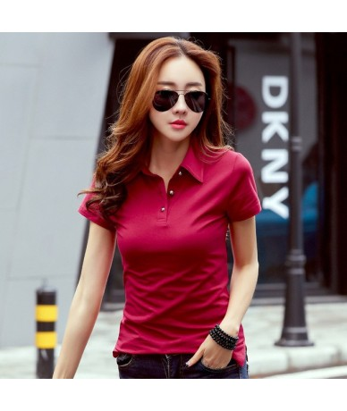 Womens Summer Polo Shirt Plus Size 3XL Cotton Tops Woman Casual Slim Tee Shirt Polos Mujer Short Sleeve Polo Shirts - Red - ...