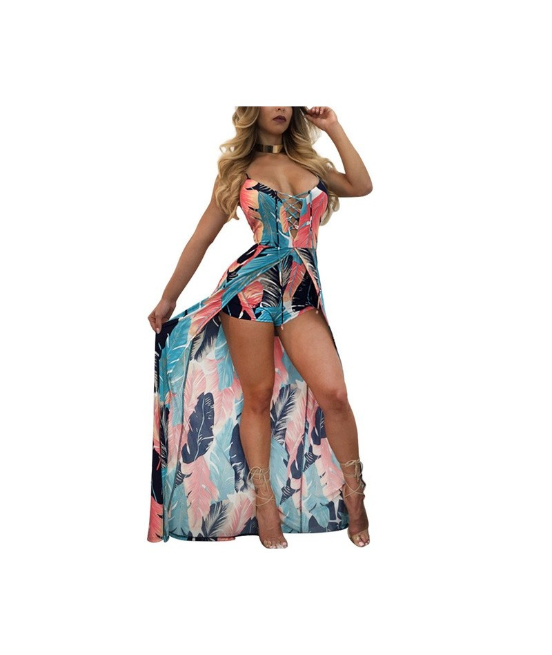 summer print floral beach Playsuit Sexy Rompers Womens Jumpsuit skirts lace up Bodysuits female Elastic Overalls - blue pink...