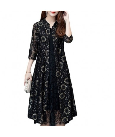 2019 Summer New Lace Shirt Women Middle-aged Plus size Thin Fashion Slim Sun suit Women's Stand Collar Loose Sun suit 5XL a2...