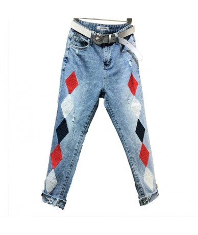 Jean femme 2019 Spring Loose Personality Holes Embroidery Blue Denim Jeans Womens High Waist Casual Pencil Pants - - 4N3068...