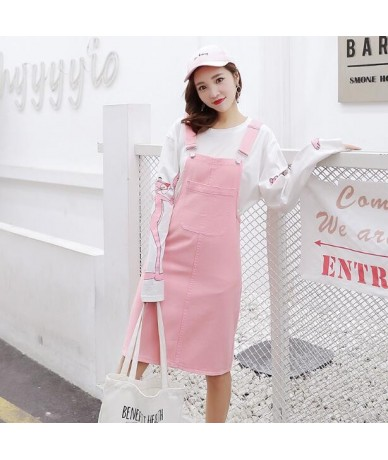 Mid-Long Summer Suspender Skirt Jeans Women 2019 Summer Casual Streetwear Strap Denim Skirts Overalls With Pockets Pink Whit...
