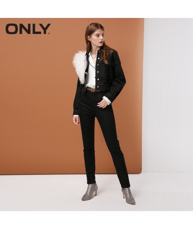 Women's High-rise Brushed Slim Fit JeansThermal & comfortable Leopard print 118432501 - BLK DENIM BLK W - 4W3067070540-1