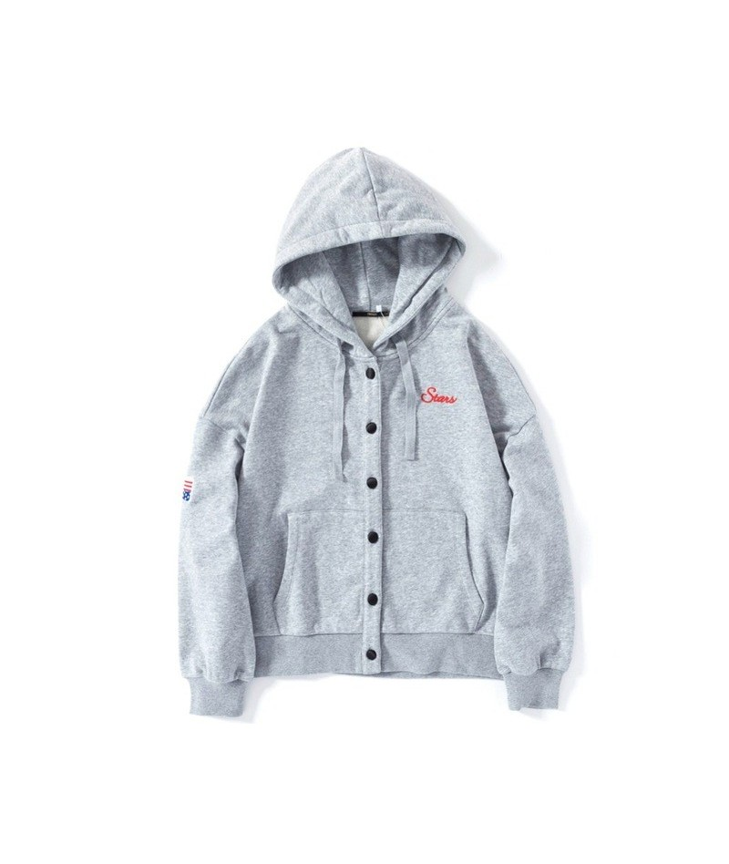 Women Embroidered Hooded Jacket with Pocket Snap Closure Women's Sport Jacket with Drawstring Hood Ribbed Cuff and Hem - Mid...