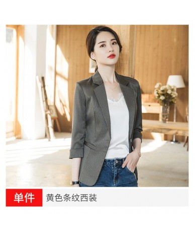 Women's jacket large size S-4XL high quality Spring and summer slim cropped sleeves striped ladies blazer Office jacket fema...