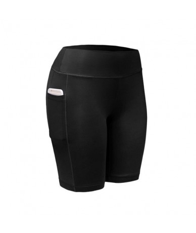 Summer Female S-XL Size Gym Sexy Sport Short Fifth Pants Fitness Workout Women's Leggings With Pockets For Phone - black - 4...