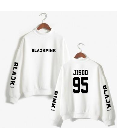 KPOP Women Sweatshirt Blackpink Concert Loose Turtleneck Hoodies JENNIE ROSE LISA JISOO Member Name Print Clothes - White 95...