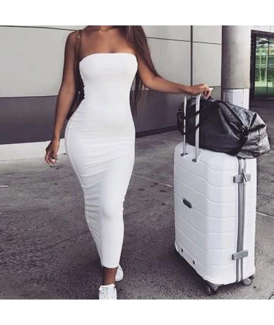 Midi Strapless Dress Summer Women Fashion 2019 Solid Pencil Midi Dress Sleeveless Club Party Beach Wrap Bodycon Dresses - Wh...