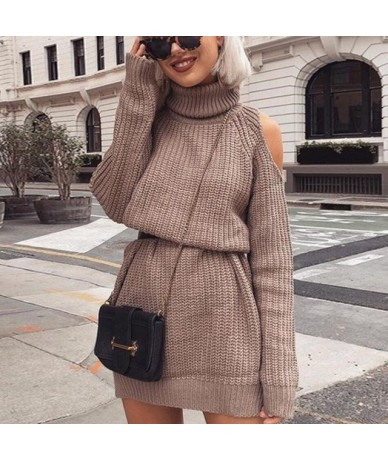 Autumn Winter Turtleneck Off Shoulder Knitted Sweater Dress Women Solid Slim Plus Size Long Pullovers Knitting Jumper - khak...