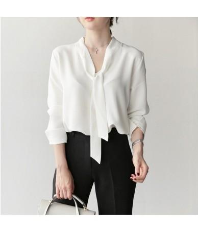 Women's summer shirt bow tie V-neck long-sleeved custom color shirt chiffon shirt female summer shirt plus size petticoat CA...