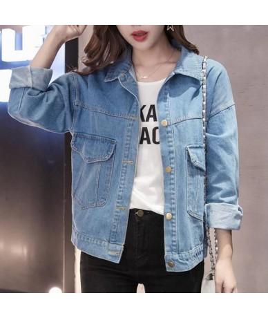 Denim Jacket Women Big Size Student Summer Basical Button Pocket Coat Blue Wash Dye Plus Size Full Sleeves 2019Spring Fashio...