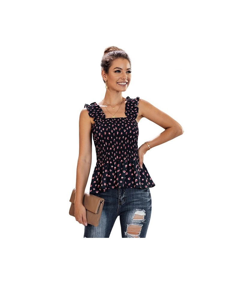 Summer Sleeveless Floral Ruched Tank Tops Woman Ruffle Hem Elastic Straps Sexy Female Flower Print Plus Size Top Vest - Blue...
