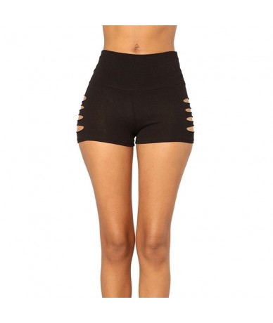 2019 Sexy Summer Hollow Out Shorts Elastic Waist Athleisure Shorts Women Black Mid Waist Sporting Shorts - BK - 4H4128002414-2