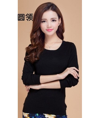 High Quality Pure Colors Autumn Winter NEW European Style Women Fashion Outwear Pullovers Knitted Cashmere Sweater Lady Big ...