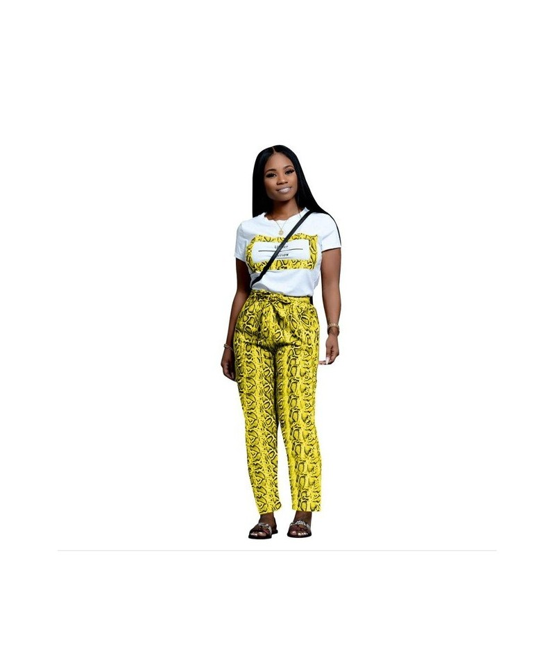 Fashion Snakeskin Print Casual Two Piece Set O Neck Short Sleeve Women T Shirt Top Bow Tie Pockets Long Pants Suits XL - Yel...