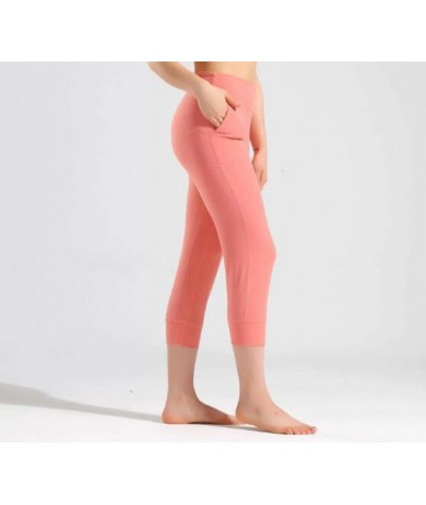 Women Capris 4 way Stretch Fabric Boot Cut Casual Leggings with Outside Pockets Wide Leg Leggings - pink - 4O4134608187-6