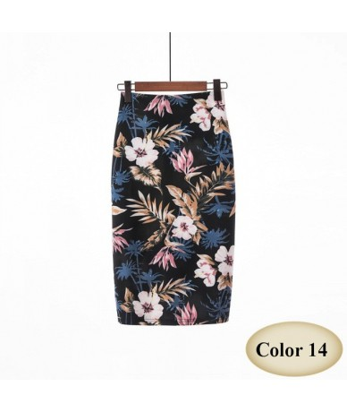 Fashion Spring Summer Style Pencil Skirt Women High Waist Green Skirts Vintage Elegant Bodycon Floral Print Midi Skirt FICUS...