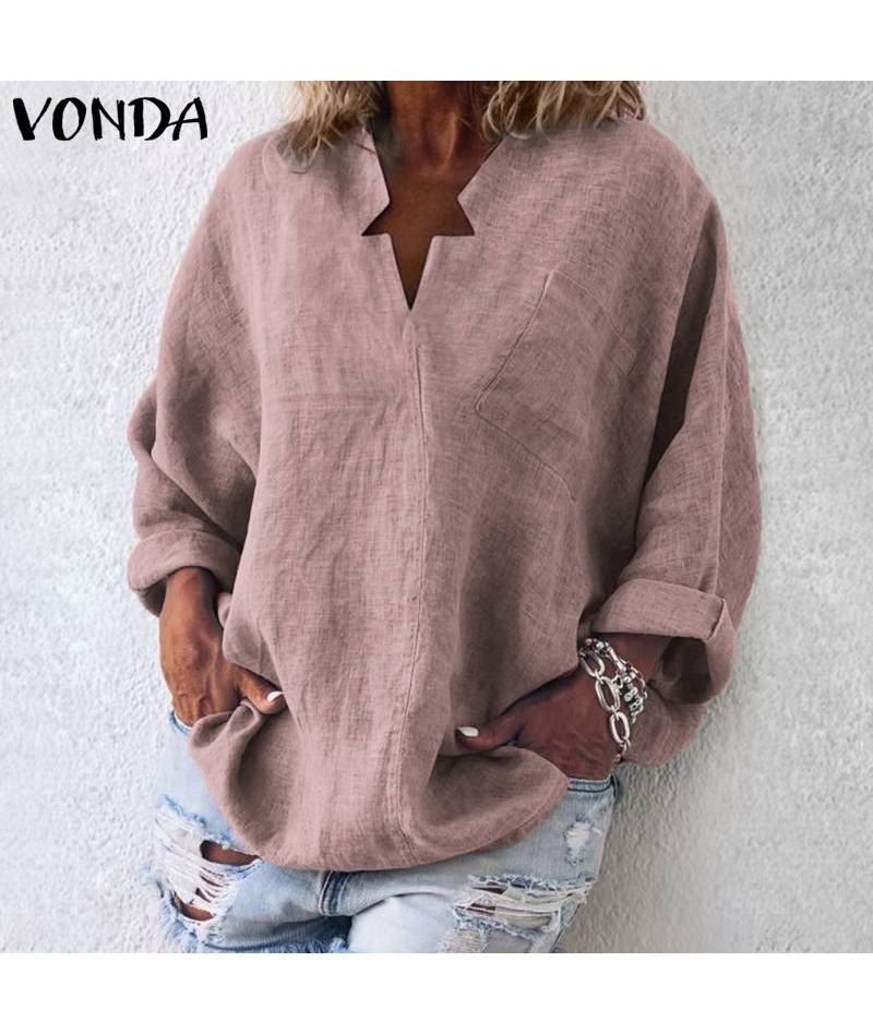 6 Colors Women Vintage Blouse Casual Shirt 2019 Autumn Long Sleeve V-Neck Tops OL Blusas Beach Women's Tunic Plus Size - Pin...