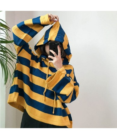 New 2018 Spring Sweater Hooded women Loose short color stripes Pullovers Full sleeve Pink knitted One size Sweater Harajuku ...