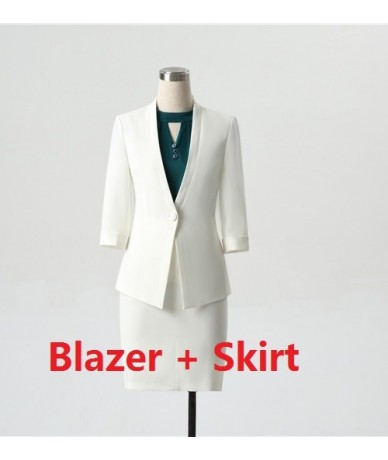 New 2019 Formal Ladies Pant Suits for Women Business Suits Work Wear Black Blazer and Jacket Sets Half Sleeve - Blazer and S...