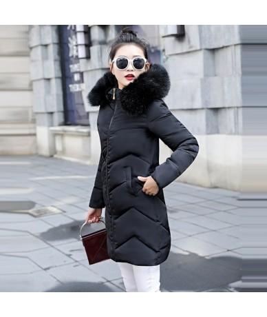 Fake Silver Fox Fur collar Winter female jacket Parkas 2019 Winter Coat Women Plus size 6XL Warm Winter jacket women down ja...