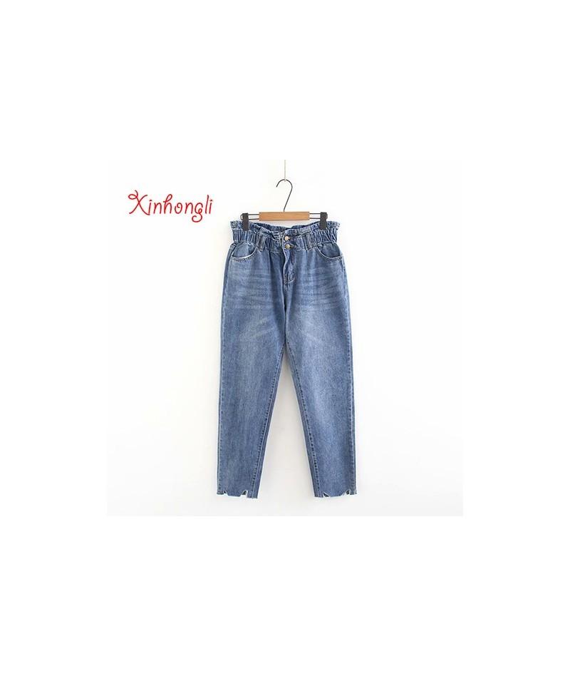 Plus size Elastic waist cotton loose style women jeans pant 2019 spring NEW casual ladies wide leg pants oversized - Blue - ...