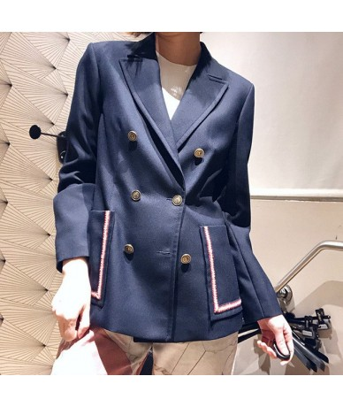 Women Suit 2019 Spring and Summer New Casual Double-breasted Blazer Women Casual Suit - Blue - 4K3081490072