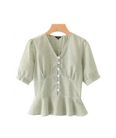 women sweet plaid blouse V neck short sleeve button design shirts cute chic female summer top blusas DA500 - as picture - 4J...