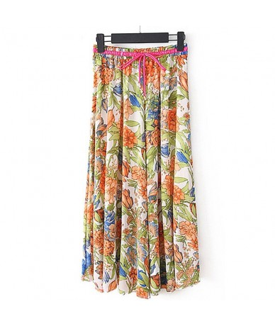 Women's Light Silky Pleated Country Leisure Floral Chiffon Summer Maxi Skirts - Orange - 4X3993662336-10