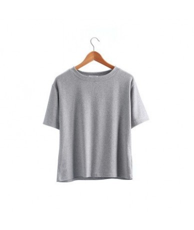 New 2019 Summer Solid Short Sleeve T-shirt Female Casual Loose Korean Students BF Cotton O-neck Tee Shirt Tops Femme - gray ...