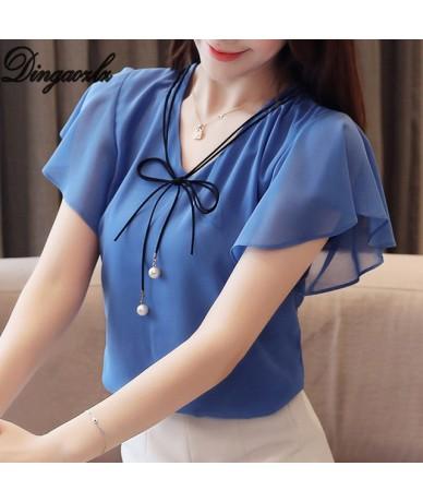 M-4XL 2019 New Fashion Plus size Women Tops Elegant Chiffon Shirt Casual clothing Bow tie Short sleeve Summer blouse - Blue ...
