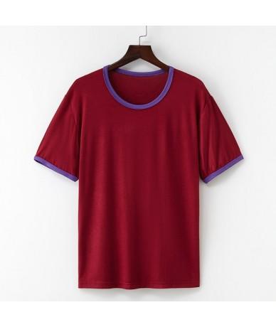 New Cotton Harajuku Summer Tshirt Sexy Solid Color Short Sleeve Tops & Tees Fashion Casual Couple T Shirt - 12 - 4T4125348397-8
