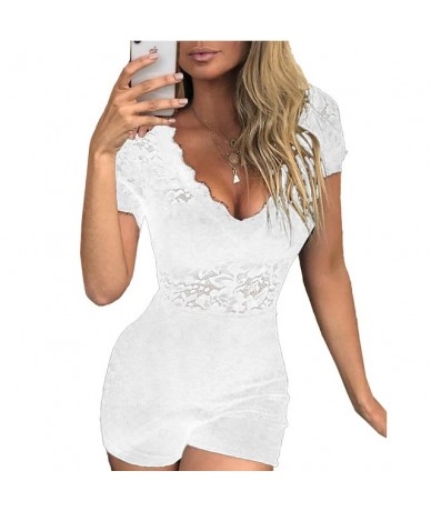 Women Summer Hollow Out Playsuits Sexy V Neck Mesh Lace Bodysuit Rompers Ladies Beach Floral Pattern Short Sleeve Short Jump...
