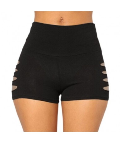 Women High Waist Fitness Sports Shorts Lady Side Hollow Out Hole Running Shorts Lady 2019 Solid Color Stretchy Workout Beach...