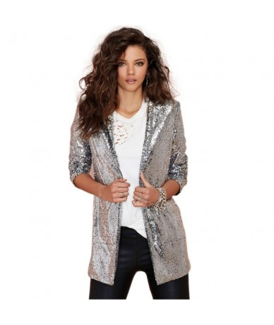 Autumn Sequin Coat Sliver White Bomber Jacket Long Streetwear Tunic Loose Casual Basic Lady Outwear - Silver - 4C3936916697