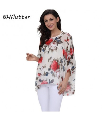 4XL 5XL 6XL Plus Size Women Clothing 2018 Women Tops Summer Style Batwing Chiffon Blouse Casual Loose Beach Cover-ups - pict...