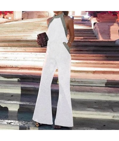 Long Women Jumpsuits 2019 Summer Sexy Halter Off Shoulder Sleeveless Rompers Casual Sequins Playsuits Plus Size Overalls - W...