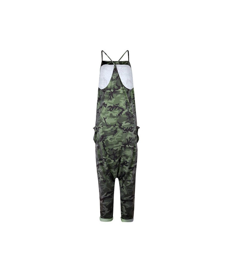 jumpsuit simple design sexy ladies sleeveless strapless straps camouflage jumpsuit female outdoor beach jumpsuit - Green - 4...