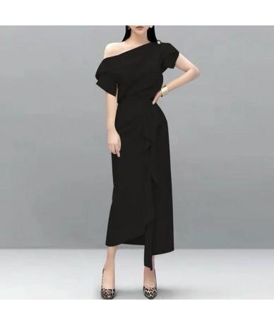 2019 New Trend Ruffles 2 Piece Set Elegant Women One Shoulder Sexy Shirt Top + Drapped Split Long Skirt Set Office Clothing ...
