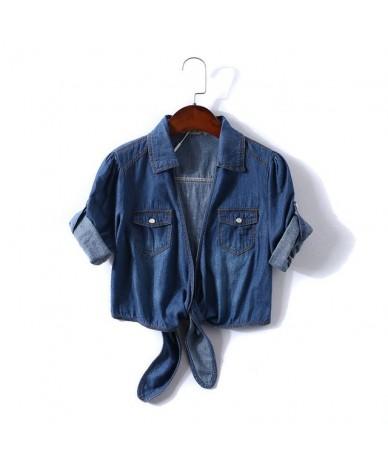 Womens lace-up Denim Shirt Blue Casual half sleeves Tops Femme 2019 Summer Crop Top Jeans Shirt Blouse - Dark blue - 4Y30923...