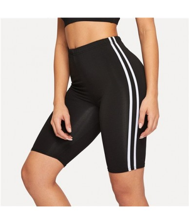 Contrast Striped Side Cycling Shorts Active Wear Women Skinny Biker Shorts 2019 Summer Fitness Casual Black Shorts - Black -...
