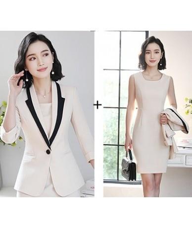 2019 Hot Ladies Dress Suit for Work Full Sleeve Blazer Sleeveless Dress 2 Pieces Set For Businesss Women Suit 001 - Beige-Se...