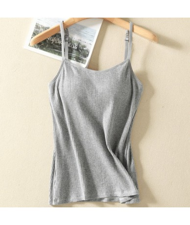 New Summer Casual One-piece Camisole Women Adjustable Strap Built In Bra Padded Wire Free Bra Top Camis Basic Shirt Women To...