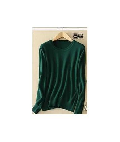 Sweater female women's knitted cashmere sweater slim o-neck sweater short design plus size pullover basic shirt - O blackish...