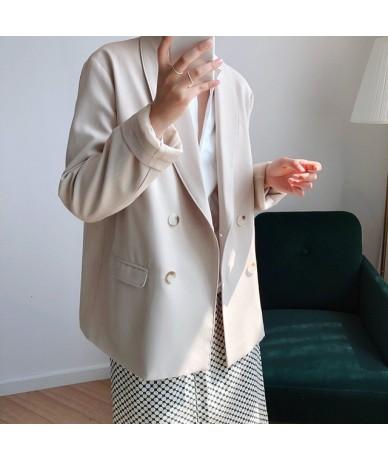 Autumn Women Blazer Jacket Padded Single Breasted Slim Suit Loose Suit Straight Vintage Cardigan Feminine Tops - apricot - 5...
