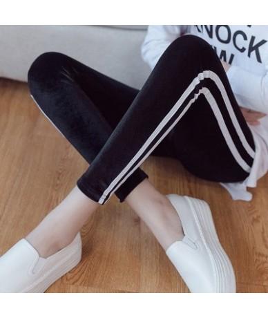 Lady casual fashion active wear side striped Leggings winter velvet fur pants thick warm skinny legging slim fit pencil pant...