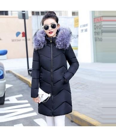 Fake Fox Fur Collar Winter Coat Women 2019 New Fashion Winter Jacket Women Parkas Long Down Jacket Female Warm Outerwear - b...