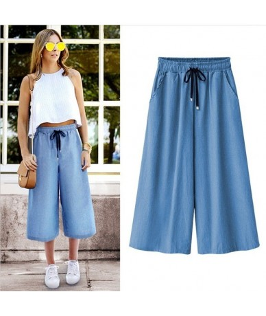 New summer woman pants fashion casual wide leg loose large size calf-length pants M-7XL 2018 OL style high waist ladies pant...